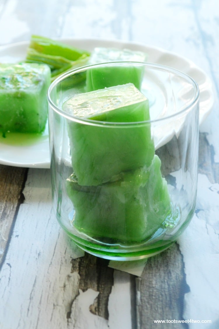 Super Sized Jalapeno Ice Cubes in glass close-up