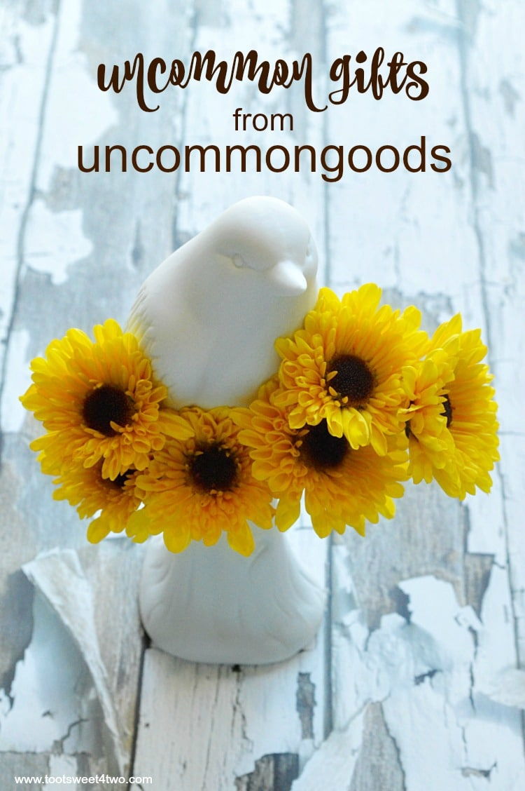 What defines gifts as uncommon goods? Words that come to mind are unique, creative, extraordinary, surprising, exceptional, singular. How do you find the perfect birthday present for the person who has everything? If you are looking for unique gifts, unusual gifts or uncommon gifts for a variety of reasons, UncommonGoods is a resource not to miss. Looking for gifts for foodies? Check. Looking for Christmas present ideas for him? Check. Looking for unique corporate holiday gifts or client gifts? Check. Looking for creative gift ideas that make a statement? Check. UncommonGoods is the perfect resource for great gifts ideas solving the age old gift giving dilemma of what gift to get for any and every special occasion.   www.tootsweet4two.com