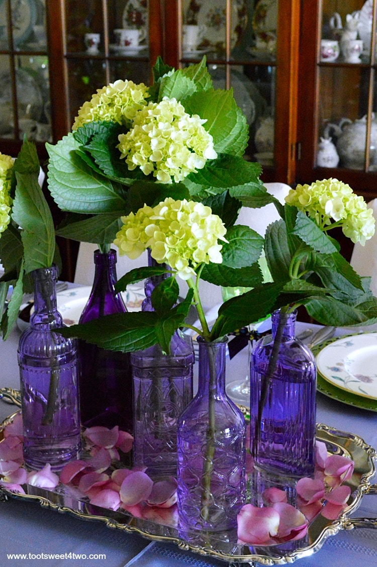 Dining table decor ideas purple and green toot sweet 4 two for Table decorations