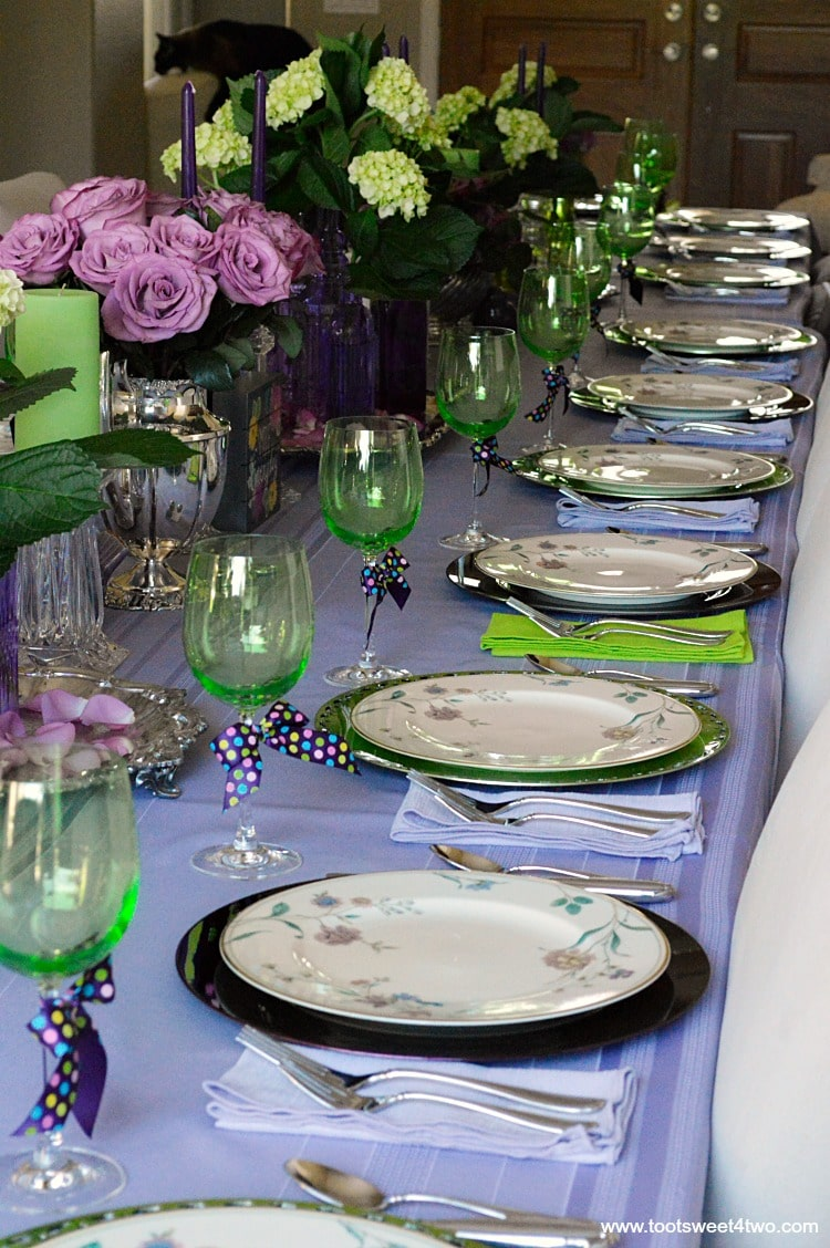 Dining table decor ideas purple and green toot sweet two