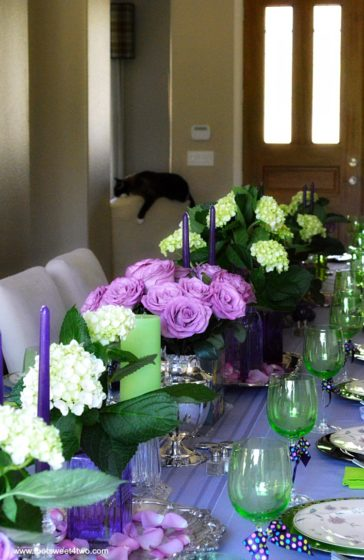 Dining Table Decor Ideas Purple And Green Pic 5