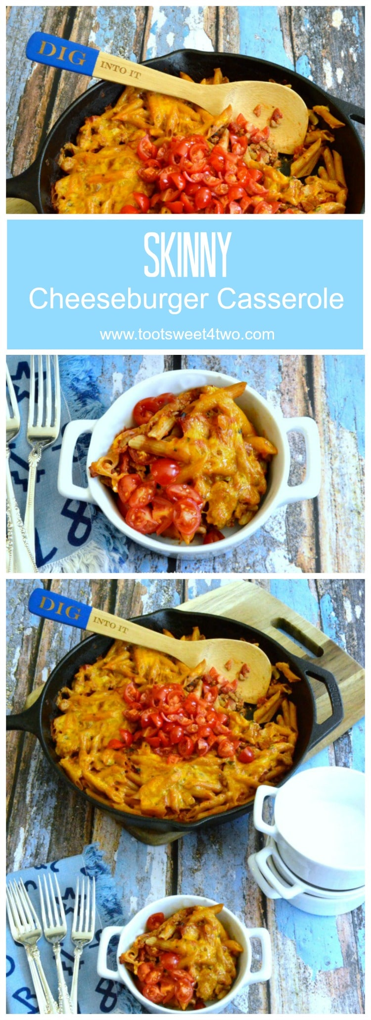 An easy and classic, kid-friendly, comfort-food recipe made healthier, Skinny Cheeseburger Casserole delivers on many levels! Adapted from upcoming cookbook, Family Favorite Casserole Recipes.   www.tootsweet4two.com