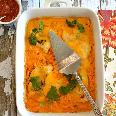 Cheesy Fiesta Salsa Chicken and Rice Bake