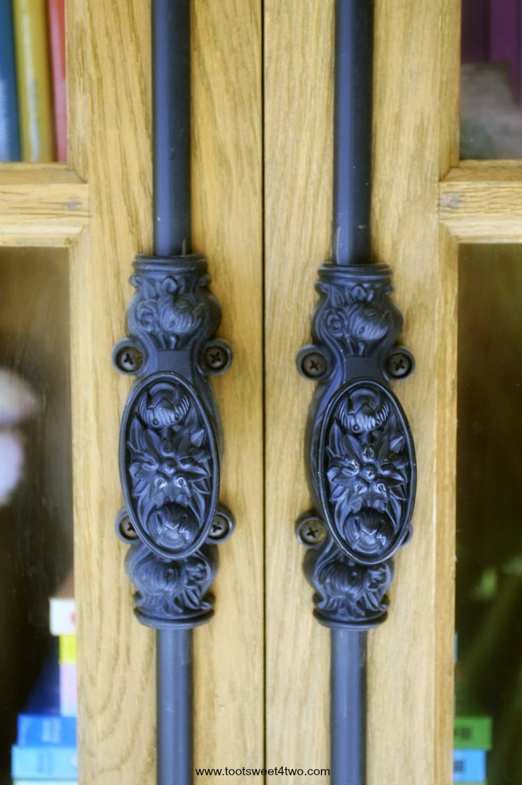 Close-up of handles to French Casement Cabinet