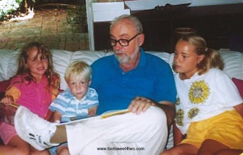 Grandpa reading bedtime stories to Nicole, Kyle and Melissa